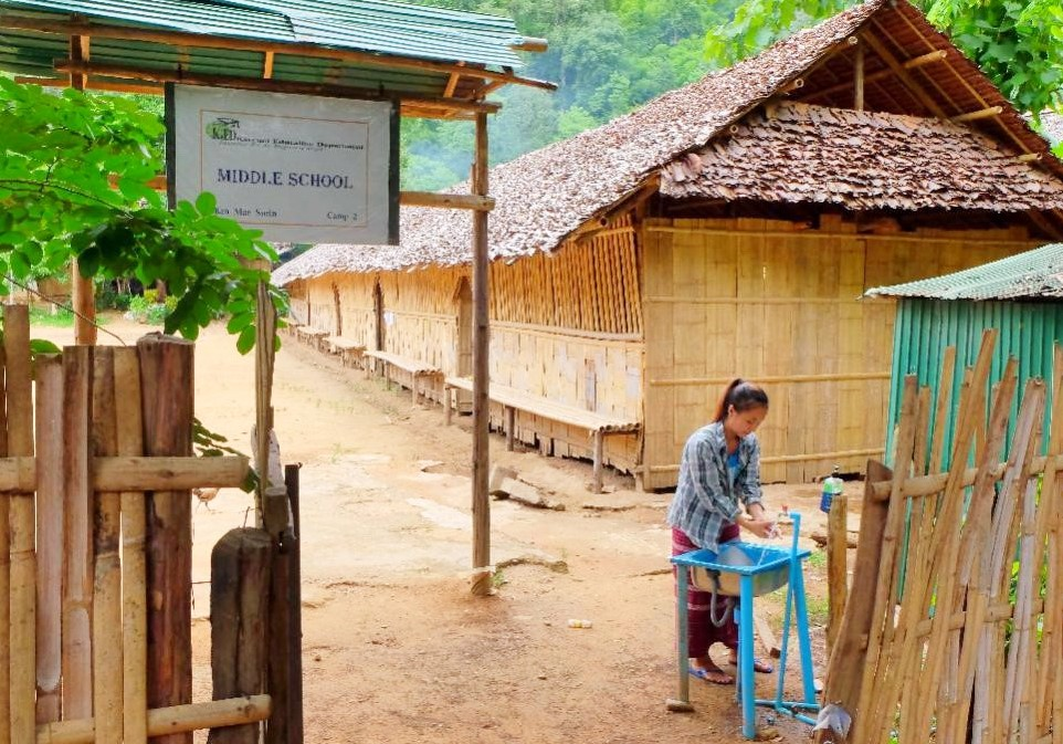 A handwash basin station set-up in Middle school in BMS ready for school re-opening on 6 July. (JRS AP)